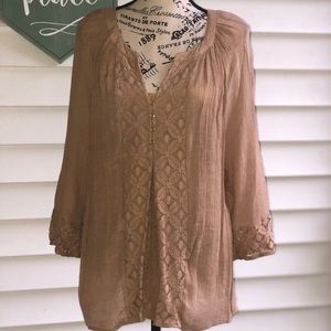 New Directions Tan 3/4 Sleeve Blouse XL